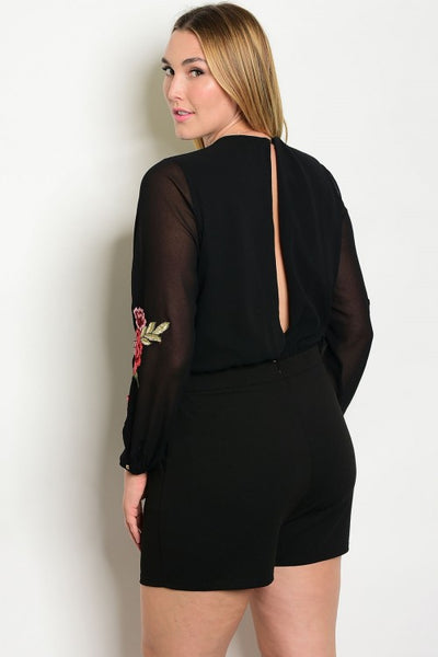 Women's Plus Size Sheer Sleeved Pocketed Short Open Back Romper