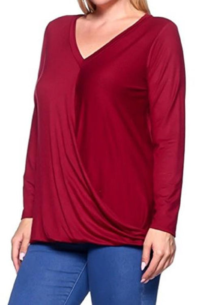 Women's Plus Size Burgundy Surplice Shirt 1X