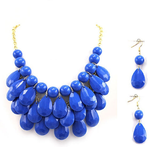Cobalt Blue Bubble Statement Necklace