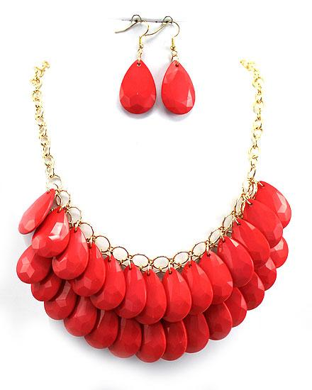 Coral Tear Drop Bubble Necklace