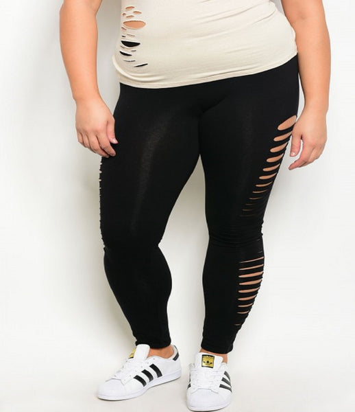 Women's Plus Size Black Distressed Leggings