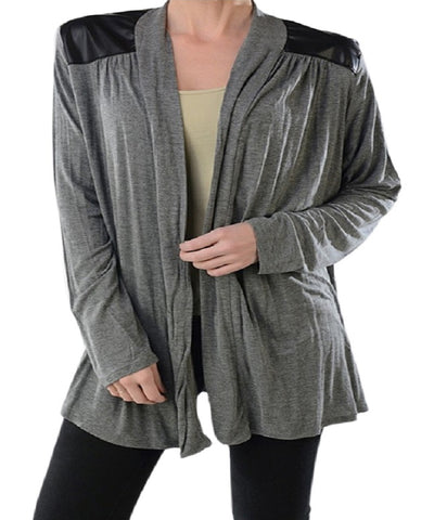 Women's Plus Size Keyhole Back Open Front Grey Cardigan 1X
