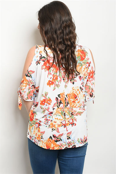 Women's Plus Size Ivory Floral Cold Shoulder Top