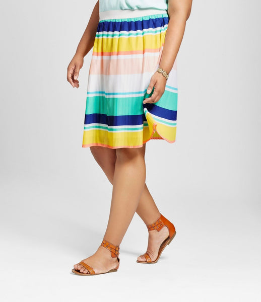 Women's Plus Size Pleated Multi Colored Striped Skirt