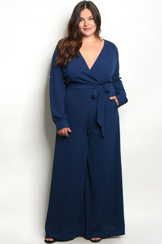 Women's Plus Size Pocketed Gaucho Wide Leg Jumpsuit