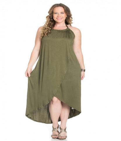 Women's Plus Size Olive Hi Low Tulip Style Maxi Dress