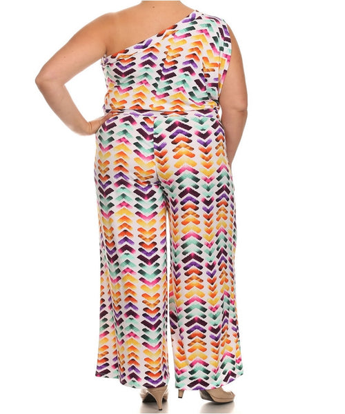 Women's Plus Size Chevron One Shoulder Multi Colored Jumpsuit 3X