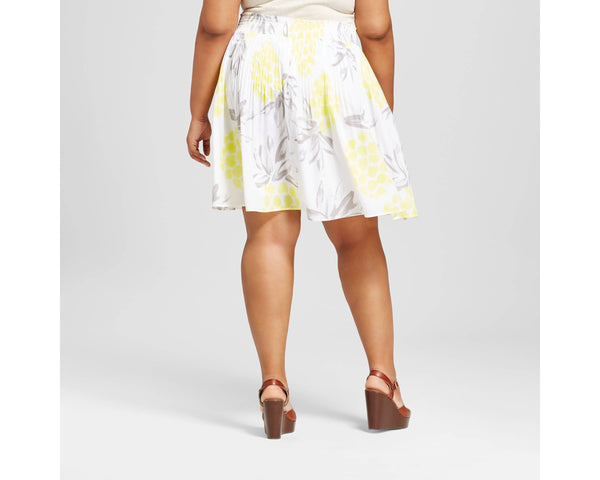 Women's Plus Size Pleated Pineapple Skirt