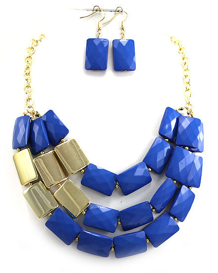 Gold Chain Block Statement Necklace