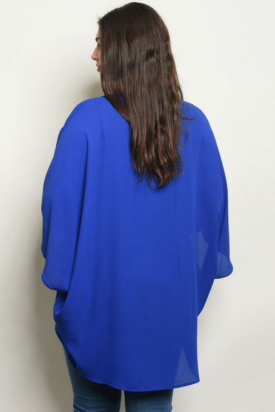 Women's Plus Size Sheer Blue Open Front Kimono Cardigan