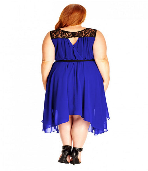Women's Plus Size Layered Chiffon Keyhole Dress