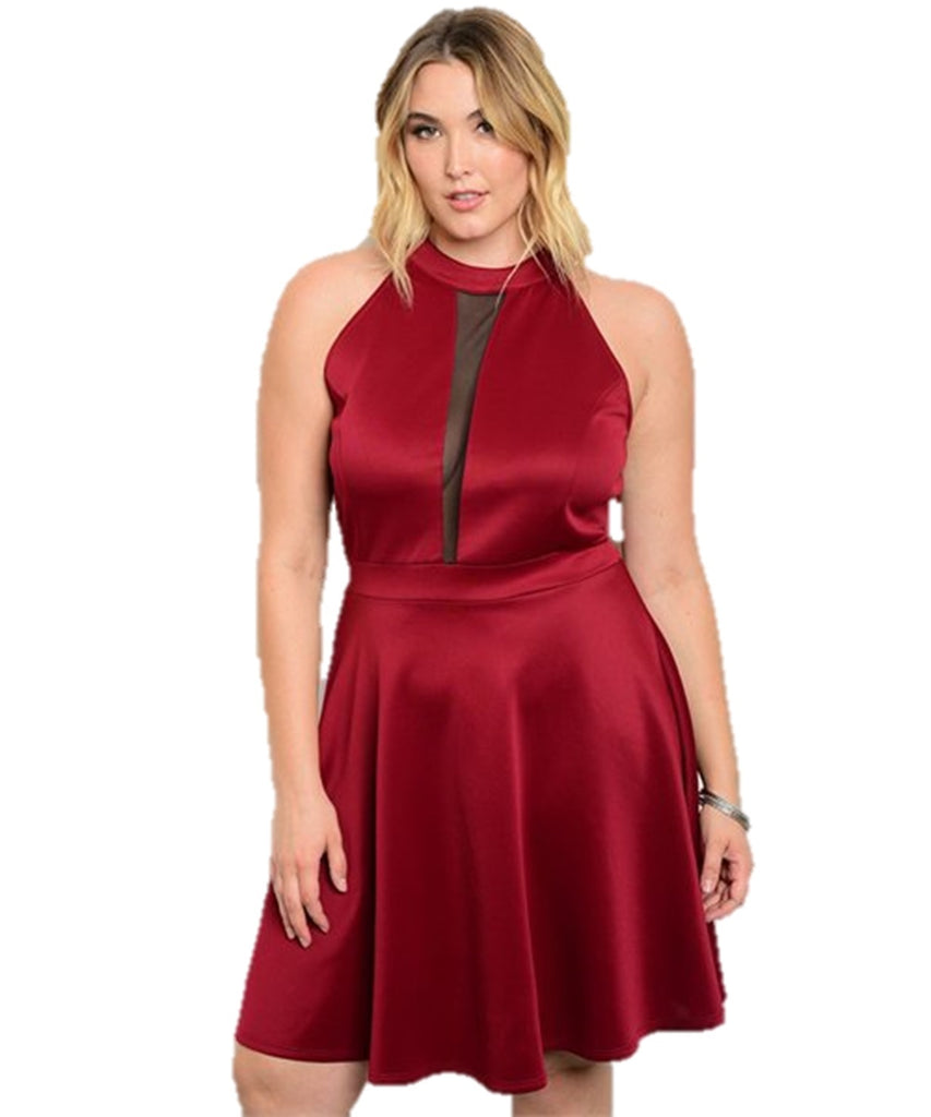 Women's Plus Size Burgundy Flared A-line Mesh Panel Dress