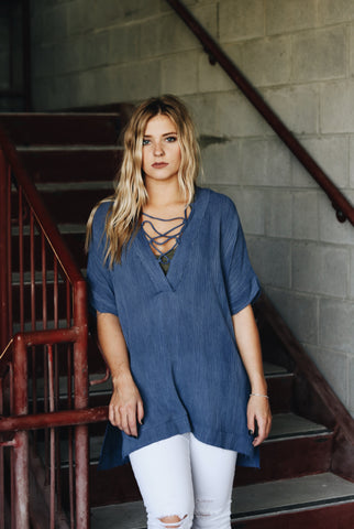Blue Lace-up Tunic
