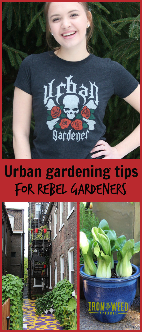 Look great while you grow, with our urban farmer t shirt and these great urban gardening tips.