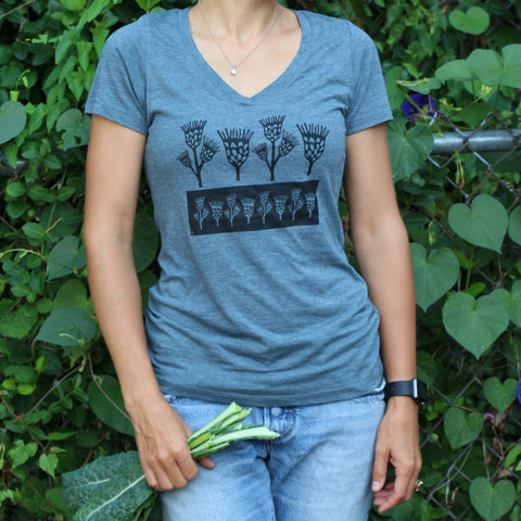 Womens gardening tee shirt with row of ironweed flowers