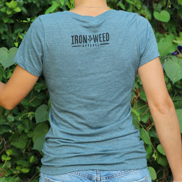 Gardening tee with logo on back