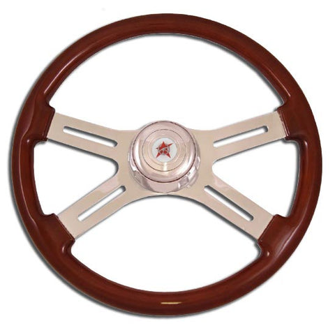 "18"" Steering Wheel, Wood Rim, Chrome 4 Spoke With Classic Cut Outs"