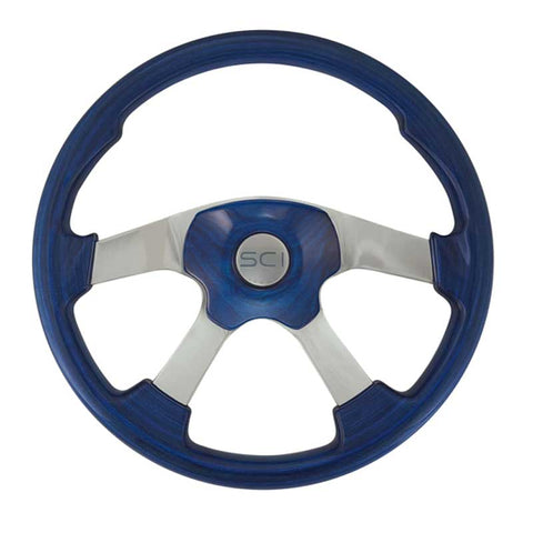 "18"" Steering Wheel, Blue Stained Wood & Polished Aluminum with Chrome 4 Spoke Wildwood Collection"