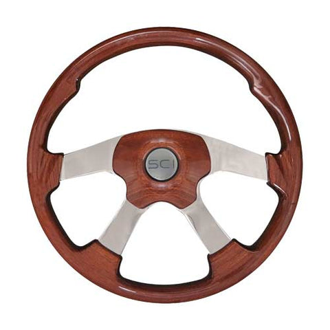 "18"" Steering Wheel, Mahogany & Polished Aluminum with Chrome 4 Spoke Wildwood Collection"