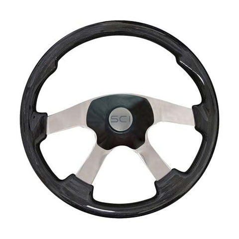 "18"" Steering Wheel, Black Leather Rim with Black Thumb Grips & Black Aluminum with Chrome 4 Spoke ""Sport"""