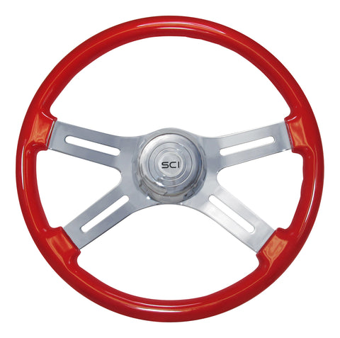 "18"" Steering Wheel, Classic Viper Red Painted and Chrome with 4 Spoke"