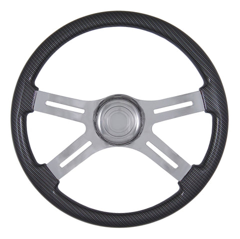 "18"" Steering Wheel, Carbon Fiber Grey with Chrome 4 Spoke"