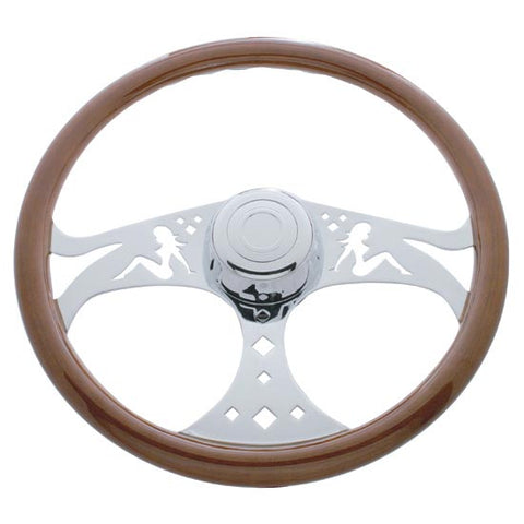 "18"" Steering Wheel, Wood Rim, Chrome 3 Spoke With Lady Cut Outs"