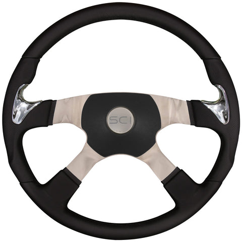 "18"" Steering Wheel, Black Leather Rim with Chrome Thumb Grips & Polished Aluminum with Chrome 4 Spoke ""Sport"""