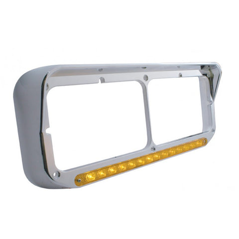 14 LED Dual Headlight Bezel w/ Visor - Amber LED/Amber Len