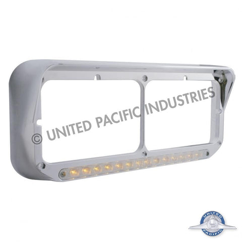 14 LED Dual Headlight Bezel w/ Visor - Amber LED/Chrome Lens