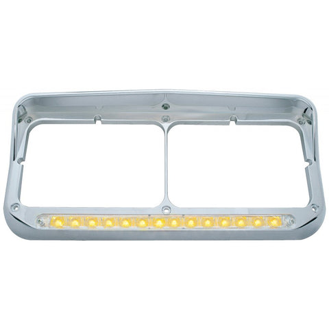14 LED Dual Headlight Bezel w/ Visor - Amber LED/Clear Lens