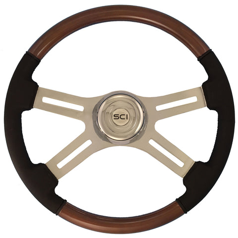 "18"" Steering Wheel, Wood and Leather with Chrome 4 Spoke ""Combo Mahogany"""