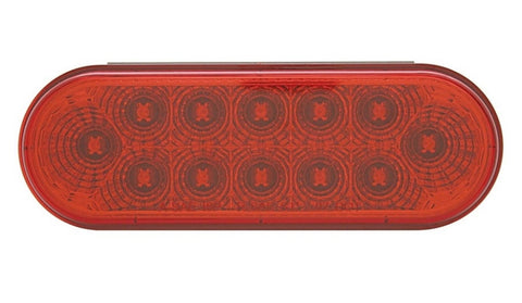 12 LED Reflector Oval Stop, Turn & Tail - Red LED/Red Lens