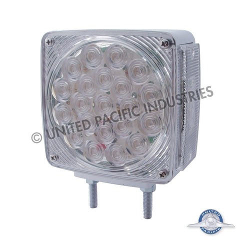 45 LED Double Face Turn Signal w/ Marker Light - 21 Amber/Red + 3 Amber LEDs w/ Clear Lens - Driver