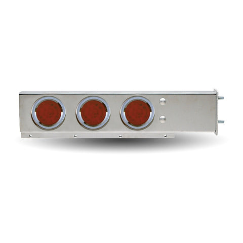 "Flat Top Mud Flap Hanger with 3 3/4"" Bolt Pattern and Six 4"" LED Lights - Red/Red"