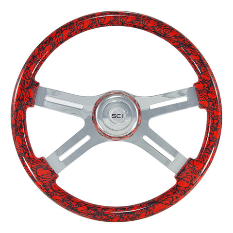"18"" Steering Wheel, Viper Red Skull Painted with Chrome 4 Spoke"