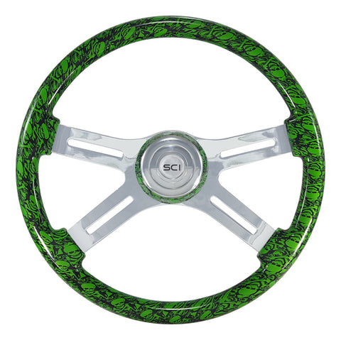 "18"" Steering Wheel, Green Skull Painted With Chrome 4 Spoke"