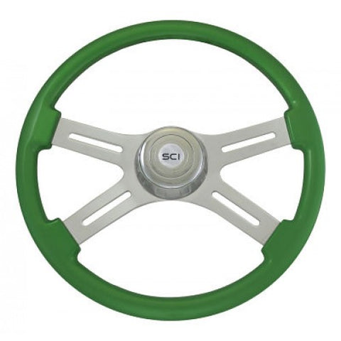 "18"" Steering Wheel, Classic Green Painted with Chrome 4 Spoke"