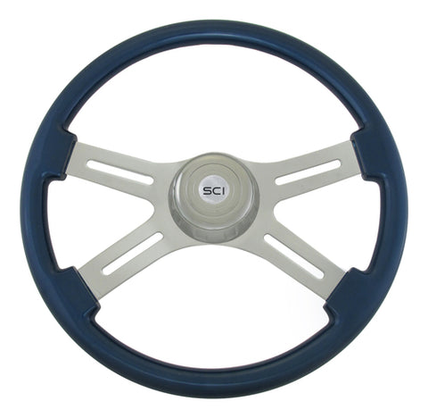 "18"" Painted Wood Rim, Chrome 4-Spoke w/ Slot Cut Outs, Chrome Bezel, Chrome Horn Button - Logo"