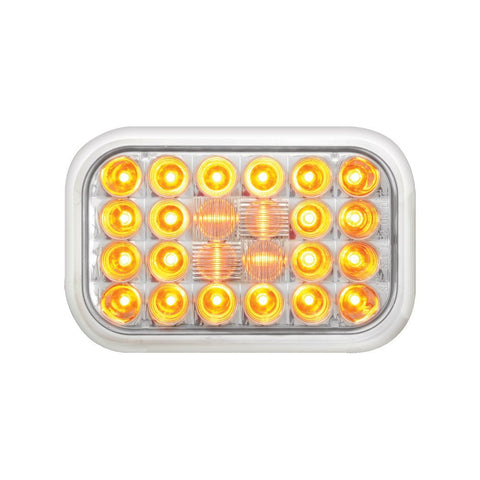 Amber Rectangular Pearl 24-LED Park/Turn/Clearance Sealed Light with Clear Lens