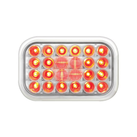 Red Rectangular Pearl 24-LED Stop/Turn/Tail Sealed Light with Clear Lens