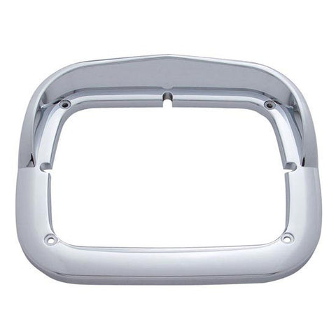 Chrome Plastic Rectangular Headlight Bezel w Visor