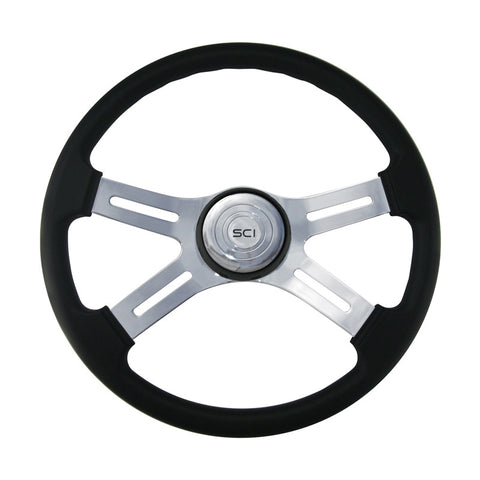 "18"" Black Leather Rim Steering Wheel, Chrome 4-Spoke"