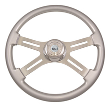 "18"" Steering Wheel, Classic Silver Painted with Chrome 4 Spoke"