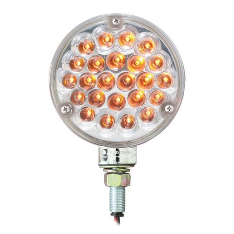 4″ Single Face Pearl LED Pedestal Light - Clear Amber