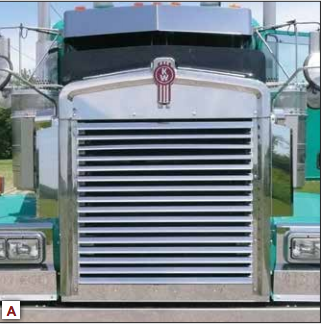 Kenworth W900L Extended Hood 16 Louver Style Bars