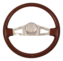 "18"" Steering Wheel, Wood Rim, Chrome with 2 Triangle Cut Outs"