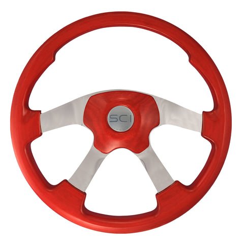 "18"" Steering Wheel, Red Stained Wood & Polished Aluminum with Chrome 4 Spoke Wildwood Collection"