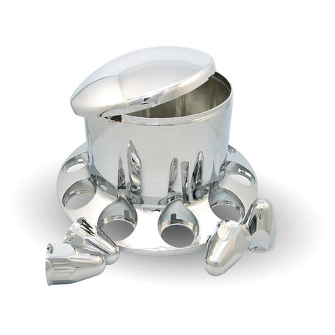 Chrome Plastic ABS Rear Hub Cover with Removeable Hubcap & 10 x 1 1/2 Push-On Nut Covers""
