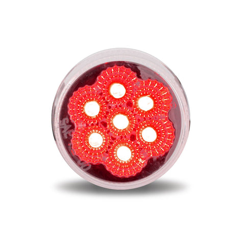 2 Inch Sealed 7 LED Reflector Light with Clear Lens - Red